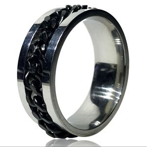 Punk Rock Spinner Black Woven Chain Ring